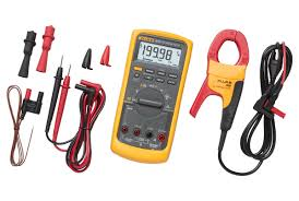 a yellow digital multimeter with wires
